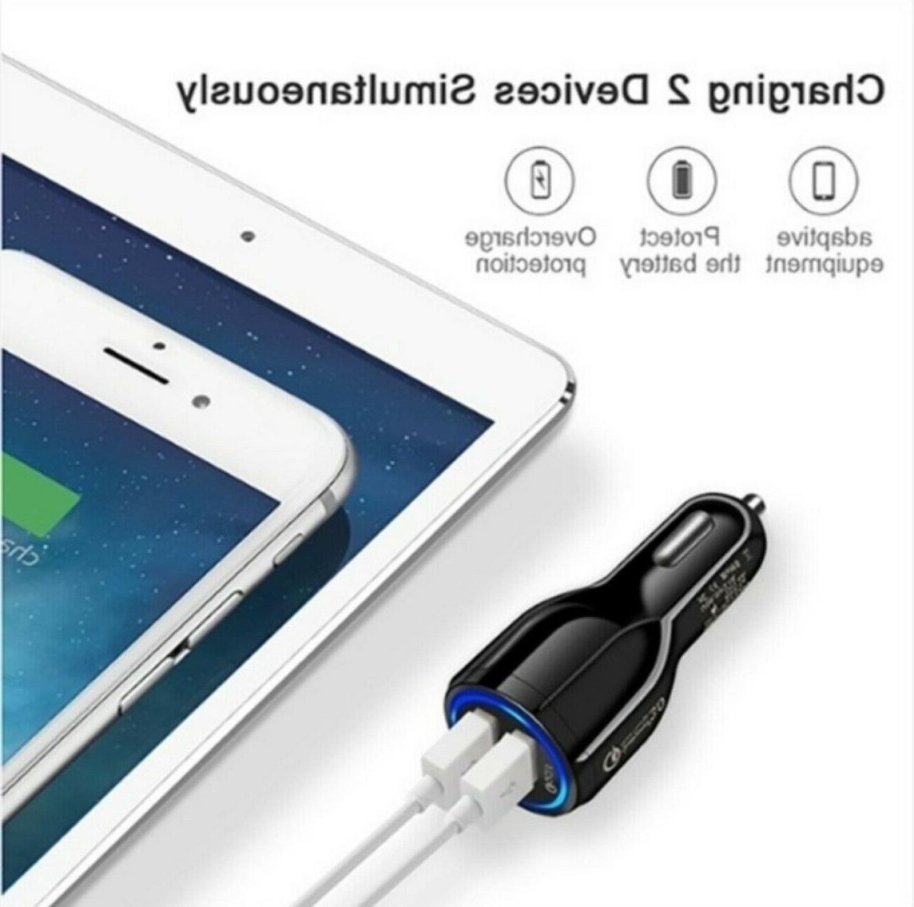 3 Pack 2 USB Port Fast QC Car Charger iPhone Phone