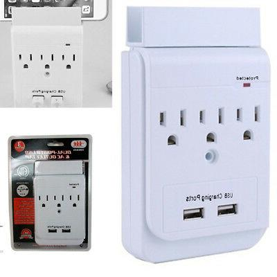 1Pc 3 Outlet Surge Protector Wall Tap 2 Dual USB Charging St