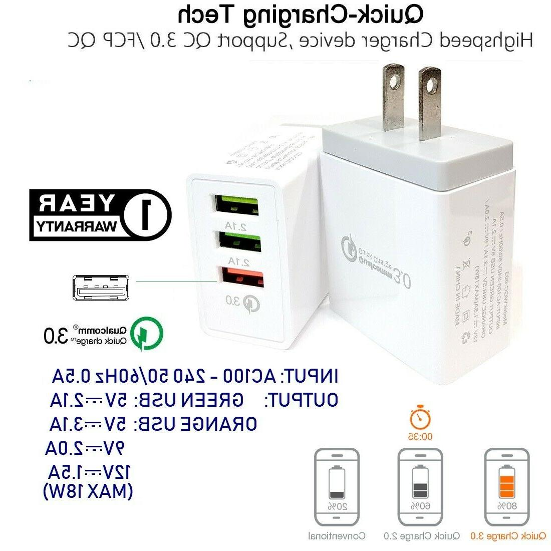3 usb ports quick fast wall charger