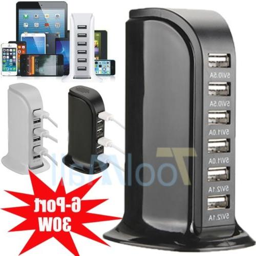 30W Multi 6 Port USB Charger 6A Rapid Charging Station Deskt
