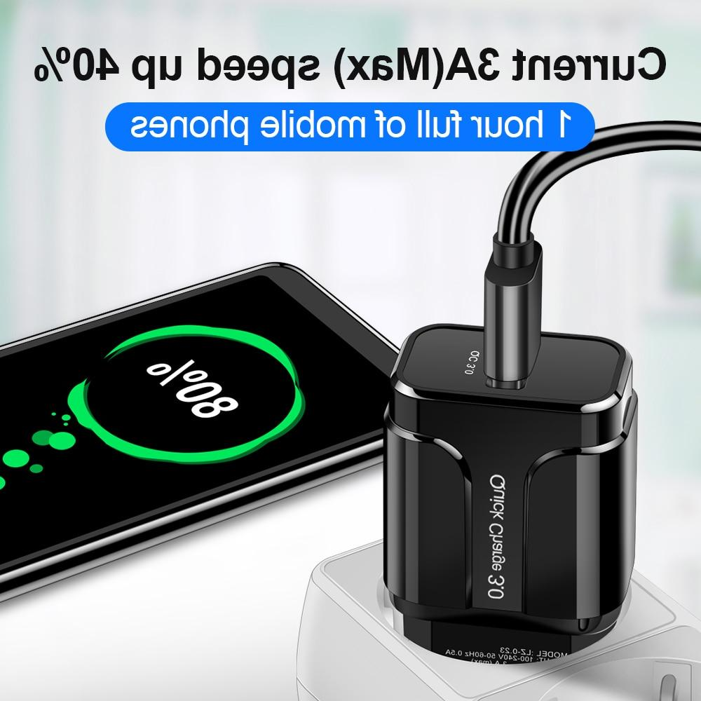 3A Quick Charge USB Mobile Adapter for <font><b>iPhone</b></font> <font><b>7</b></font> 8 Charging for