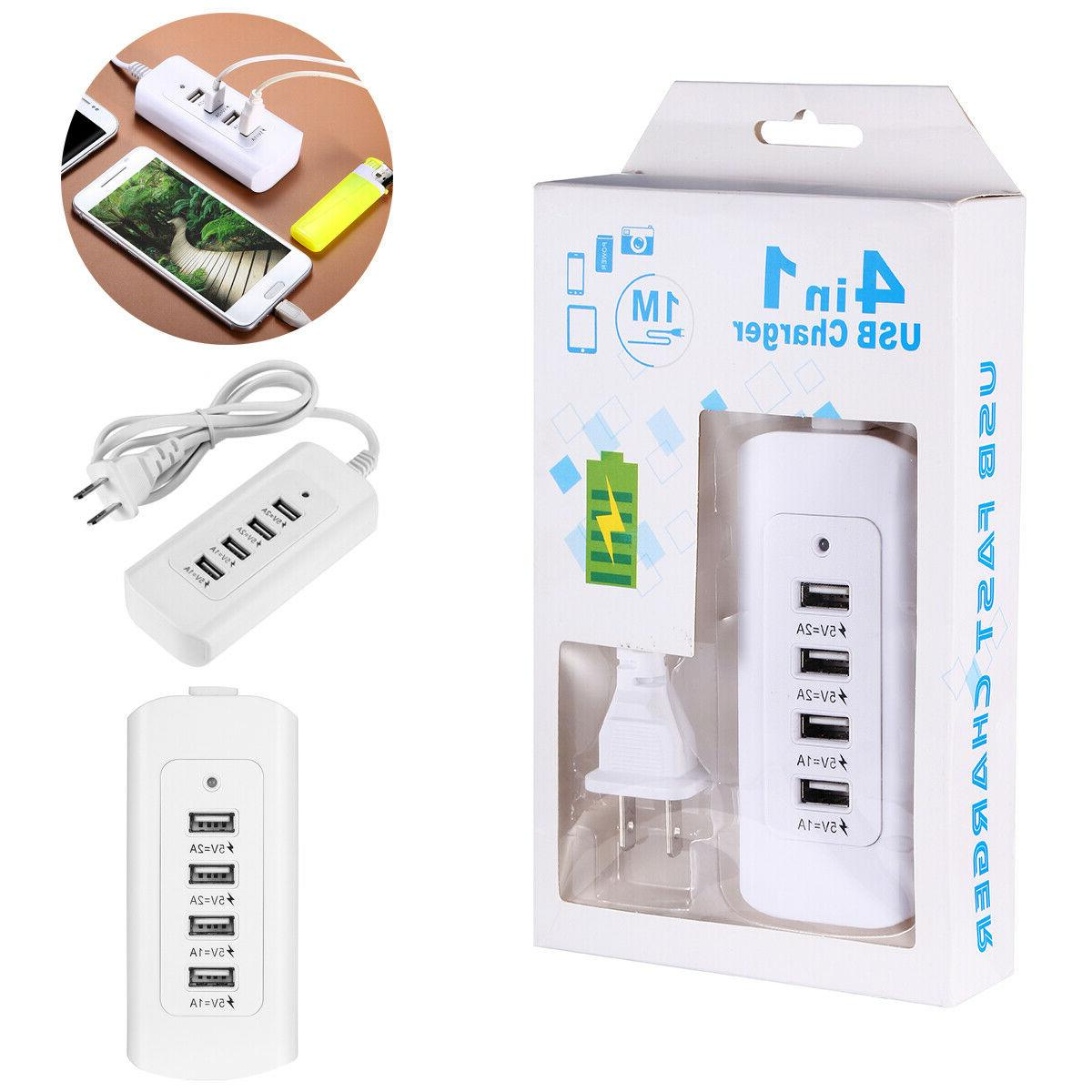 4 Port USB Travel Desktop Charging Station USA