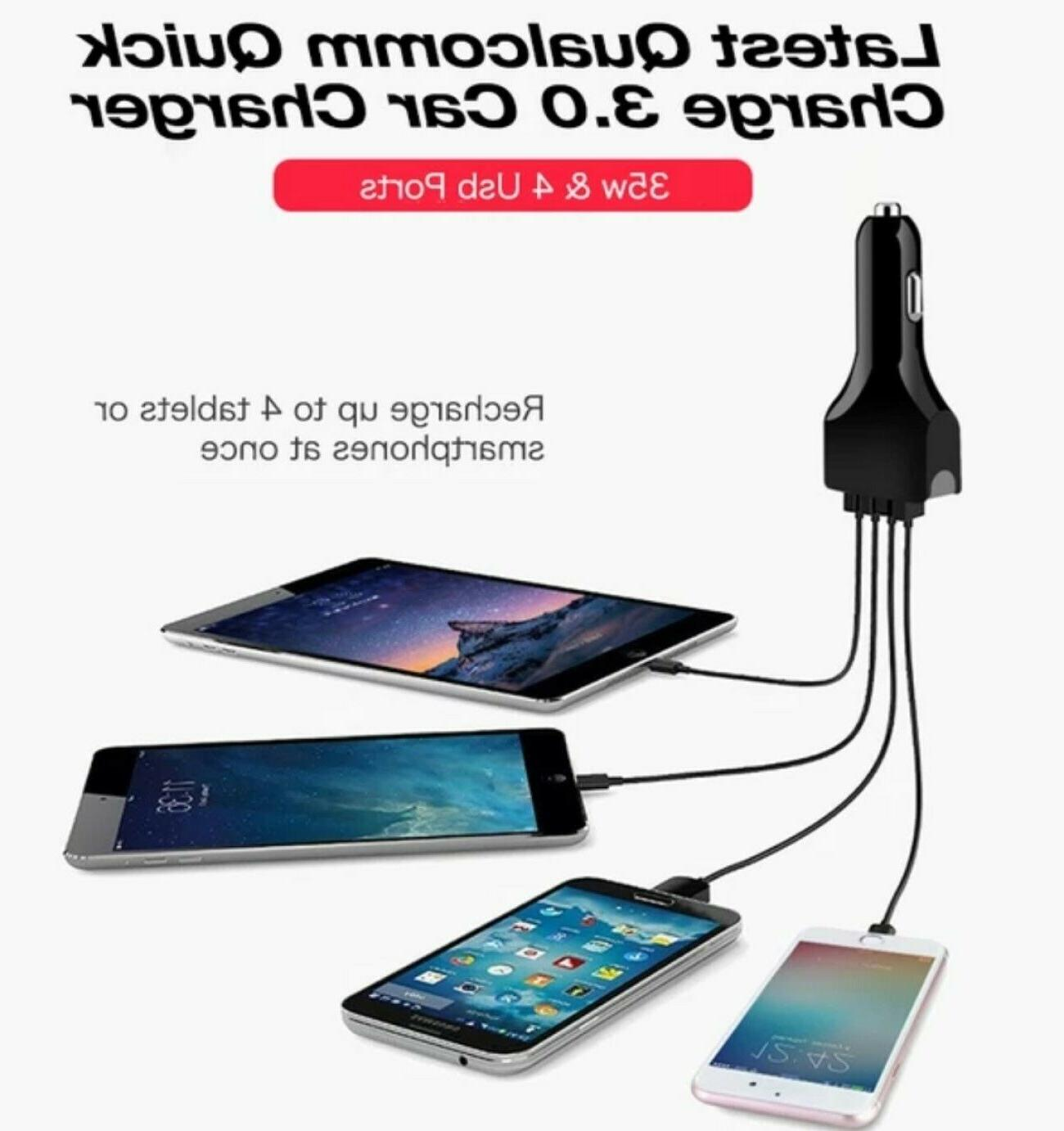4 Port Fast Car Charger Samsung iPhone