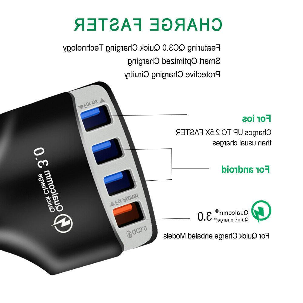 4-Port Car Charger Quick Charger iPhone