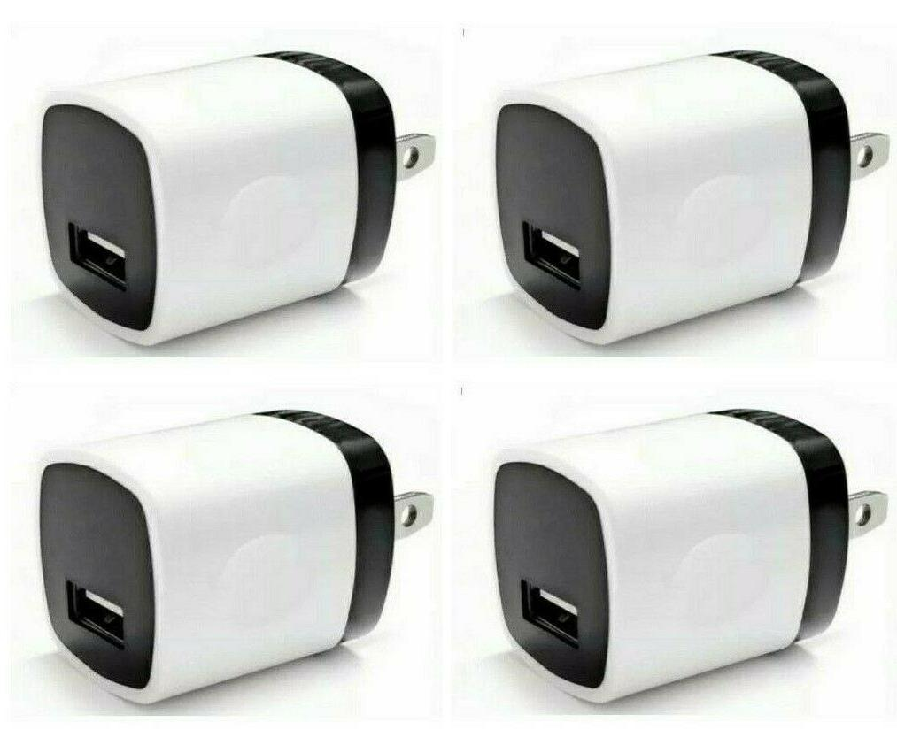 4x white 1a usb adapter ac home