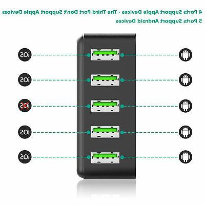 5-Port Multi【Fast USB Wall Charger Hub 10A