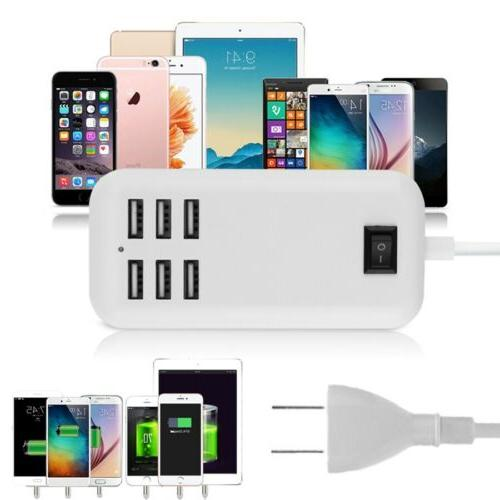 Multi Port USB 6 Wall Travel Power Supply US