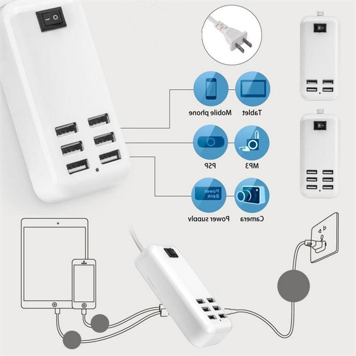 6 Port USB Desktop Multi-Function Fast Wall Charger Station