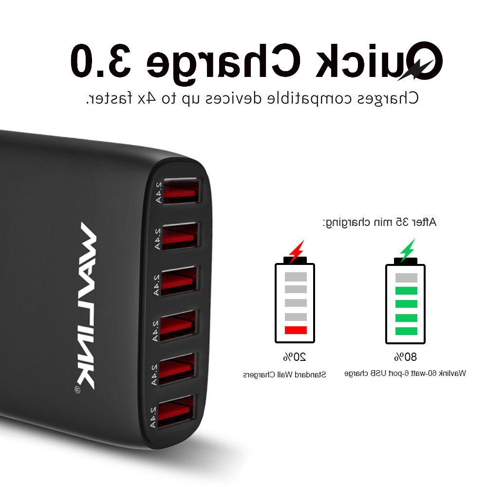 Wavlink 6 USB Ports Charger 60W Quick Power Adapter