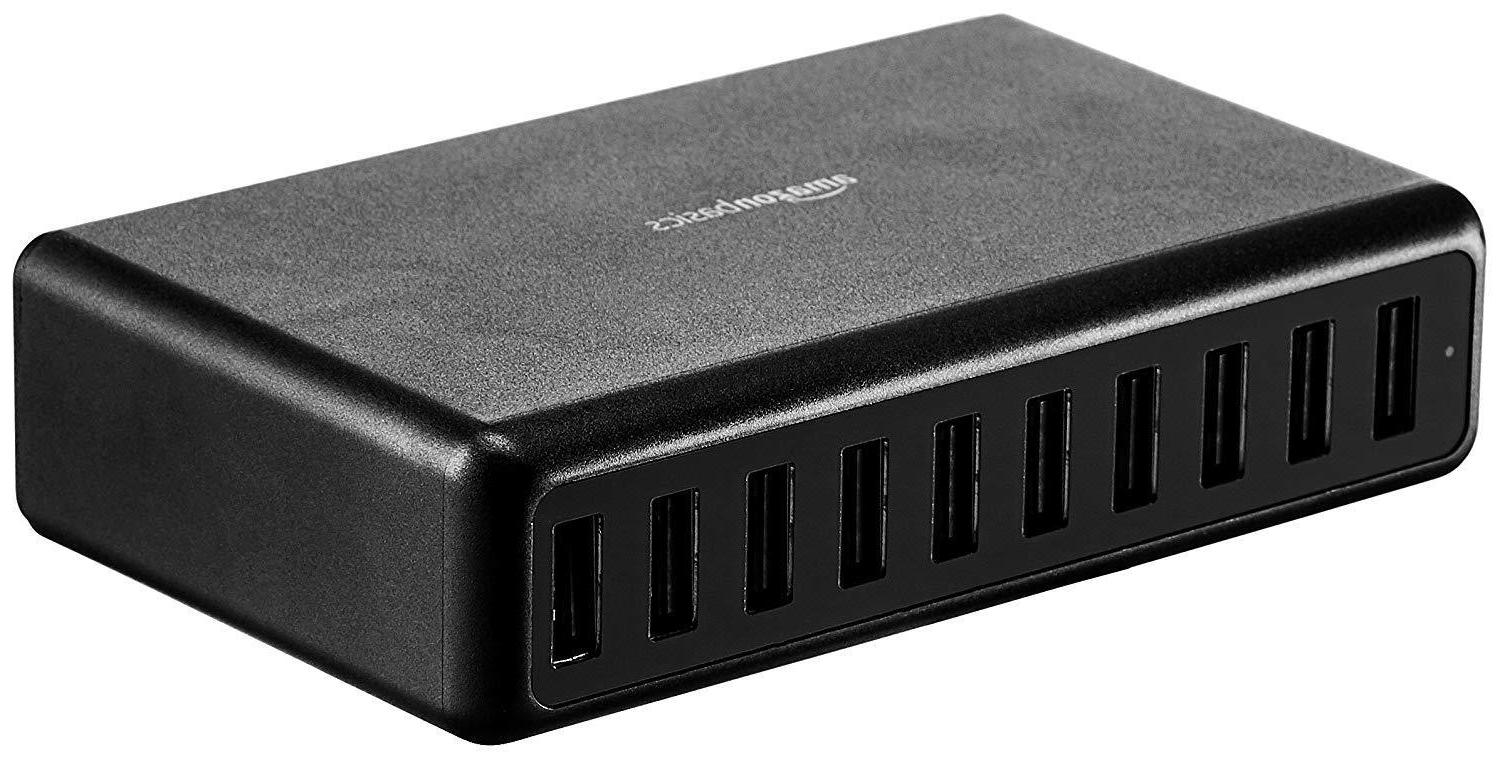 60w 10 port usb wall charger black