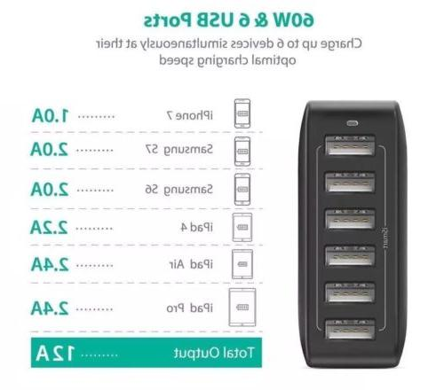 RAVPower 60W 12A 6-Port USB Charger Desktop Charger Charging