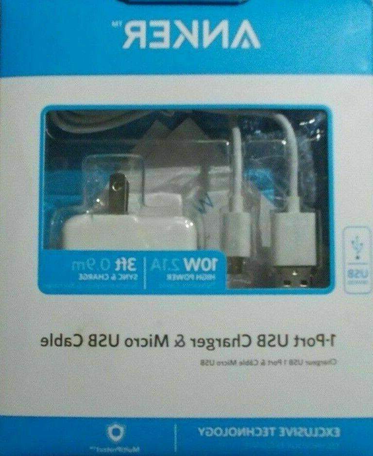 Anker 1-port Usb Charger & Micro Usb Cable 10w 2.1a 3ft 0.9m