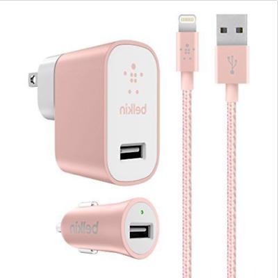 Belkin Car/Wall Charger Kit w/ 4Ft Lightning Cable iPhone X