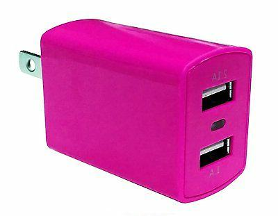 Dual USB 2.1A Travel Wall Charger Adapter - Hot Pink