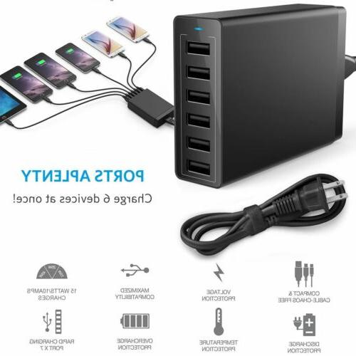 Home Wall USB Charger Fast Hub Power Station Multi Port US