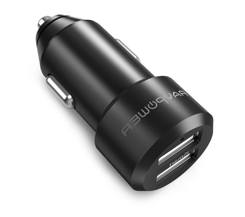 RAVPower 24W Dual USB Car Charger Fast Adapter Galaxy S9 S8