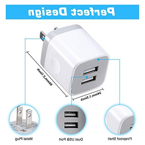 X-EDITION USB Wall Charger,4-Pack 2.1A USB Cube Power Charger Plug Charging Cube Plus/X, Galaxy S5 S7 ZTE, HTC,