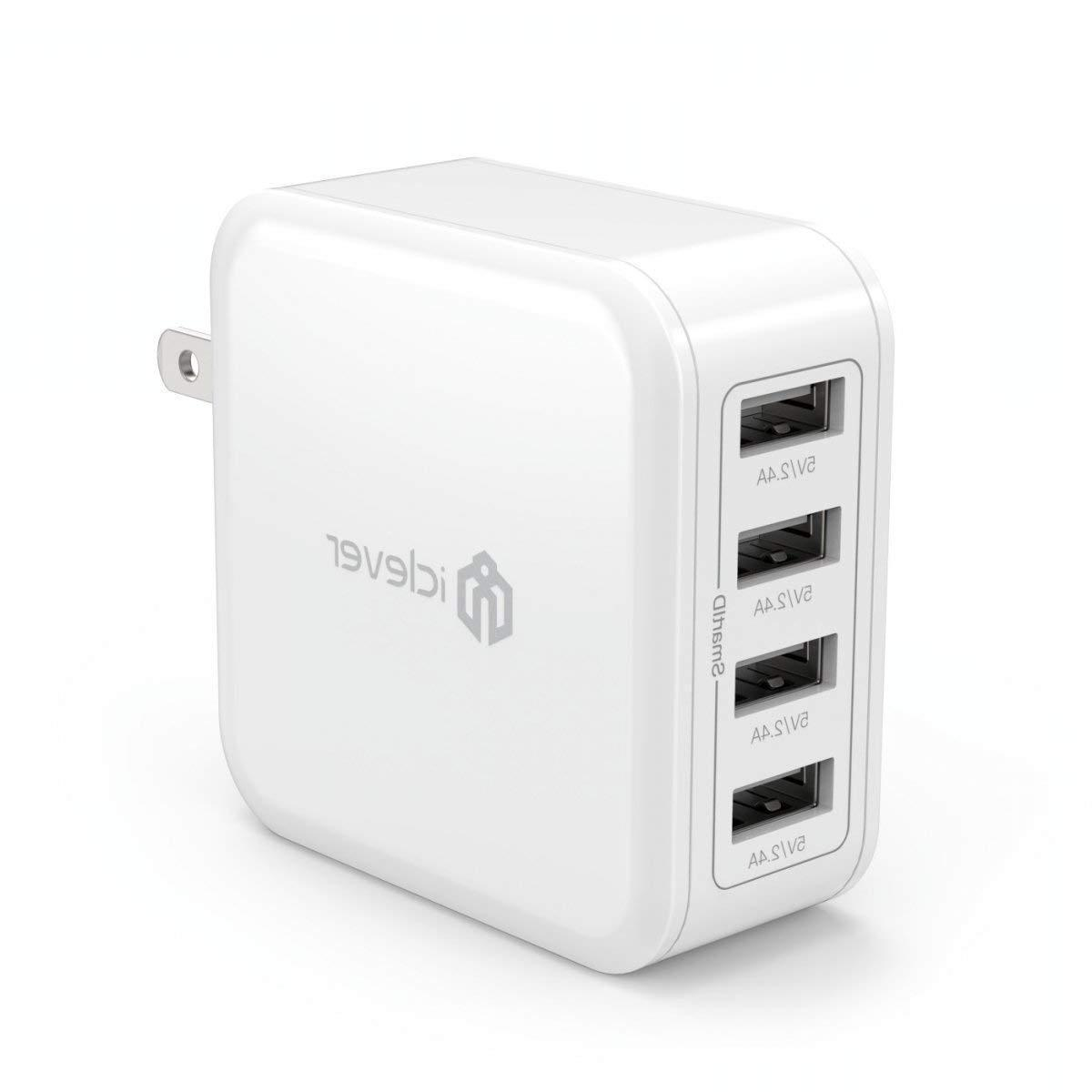 iClever BoostCube 40W 4-Port Universal USB Wall Charger with