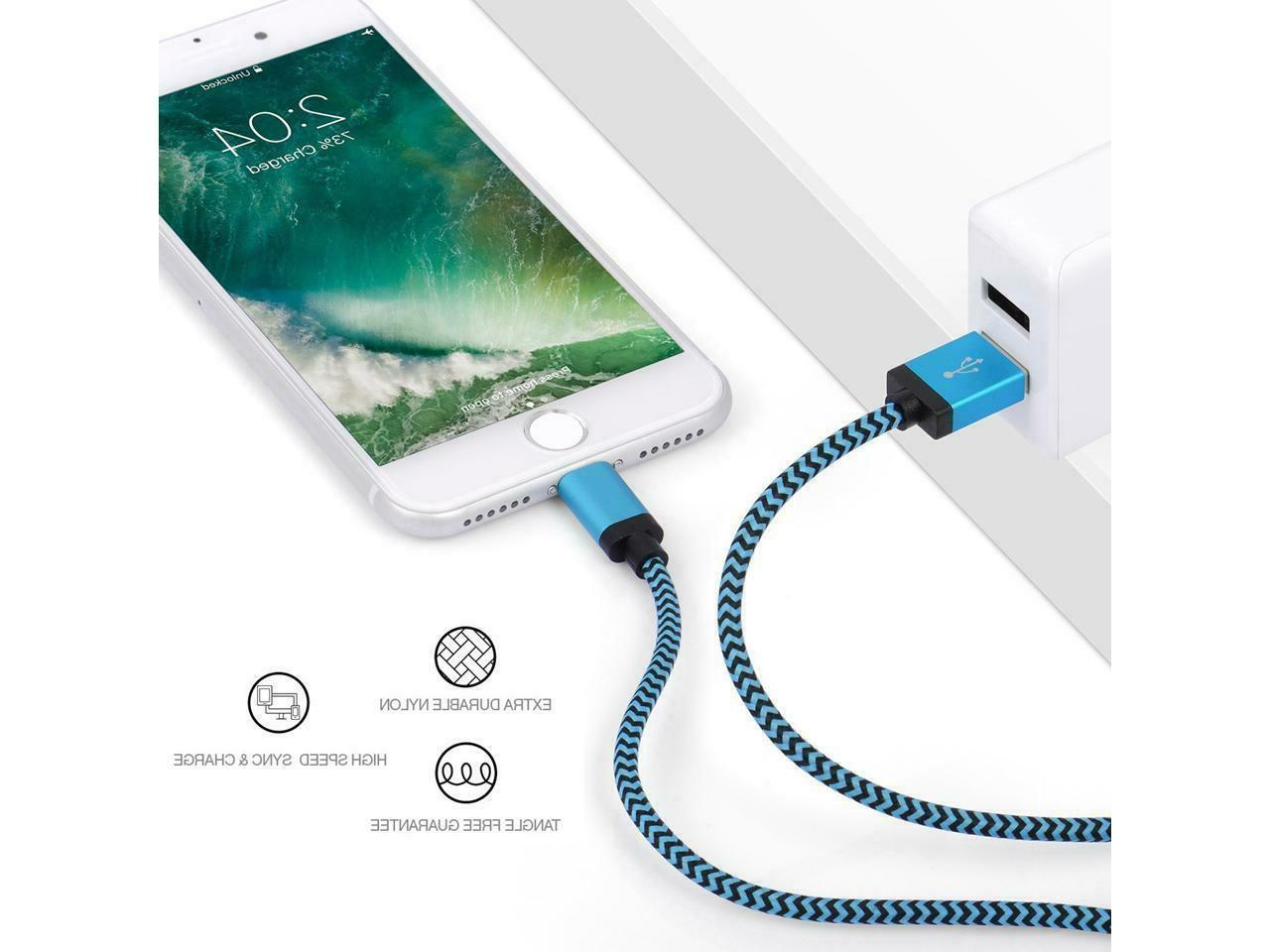 Braided Lightning Charger Cable for iPhone 7 Plus Xs 6ft 10ft