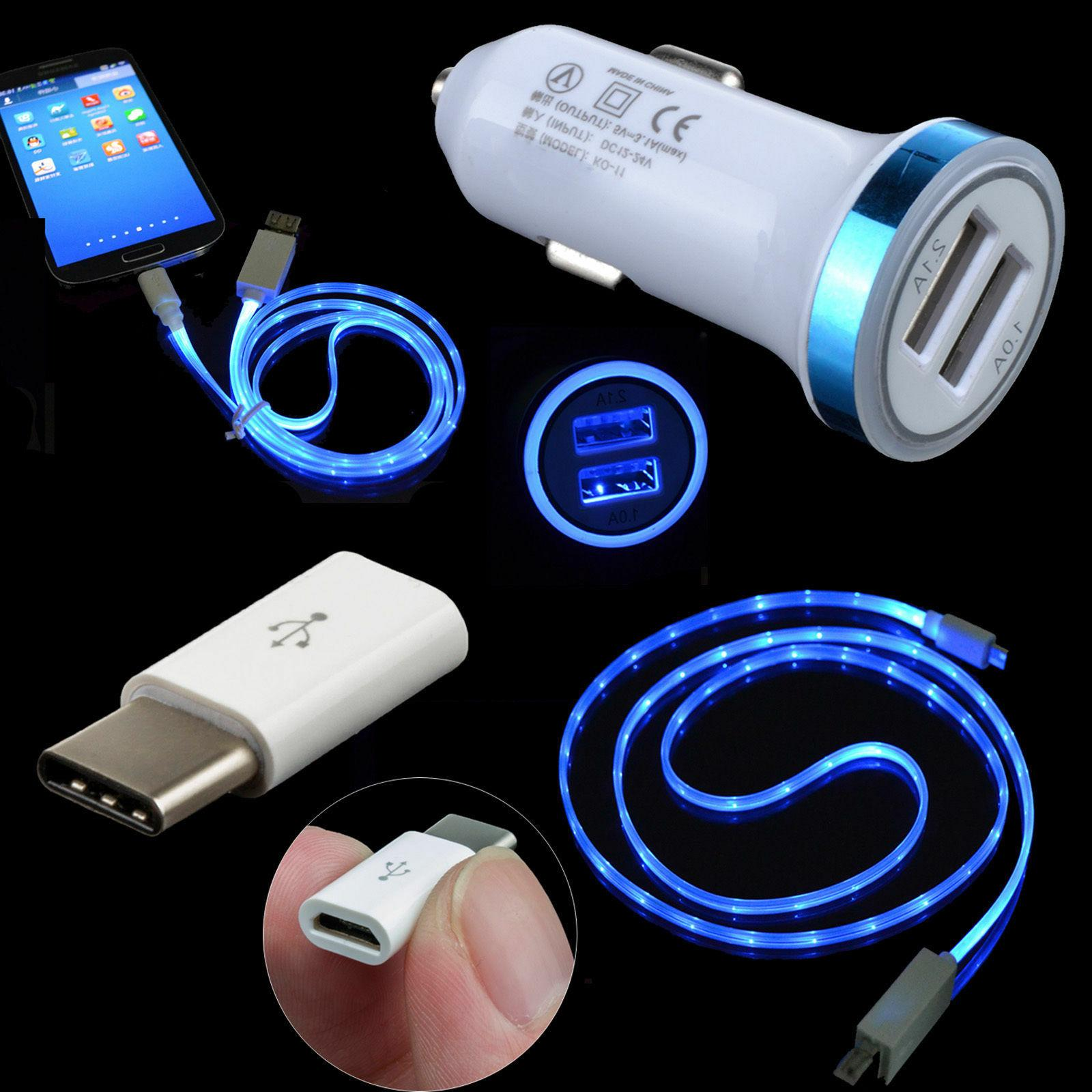 Car Charger + LED Cable + USB-C Adapter For Samsung Galaxy S
