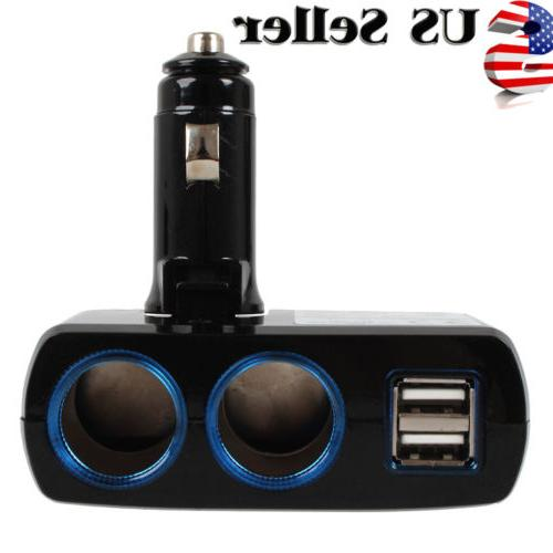 2 Way Charger Adapter Dual USB Port Car Cigarette Lighter So