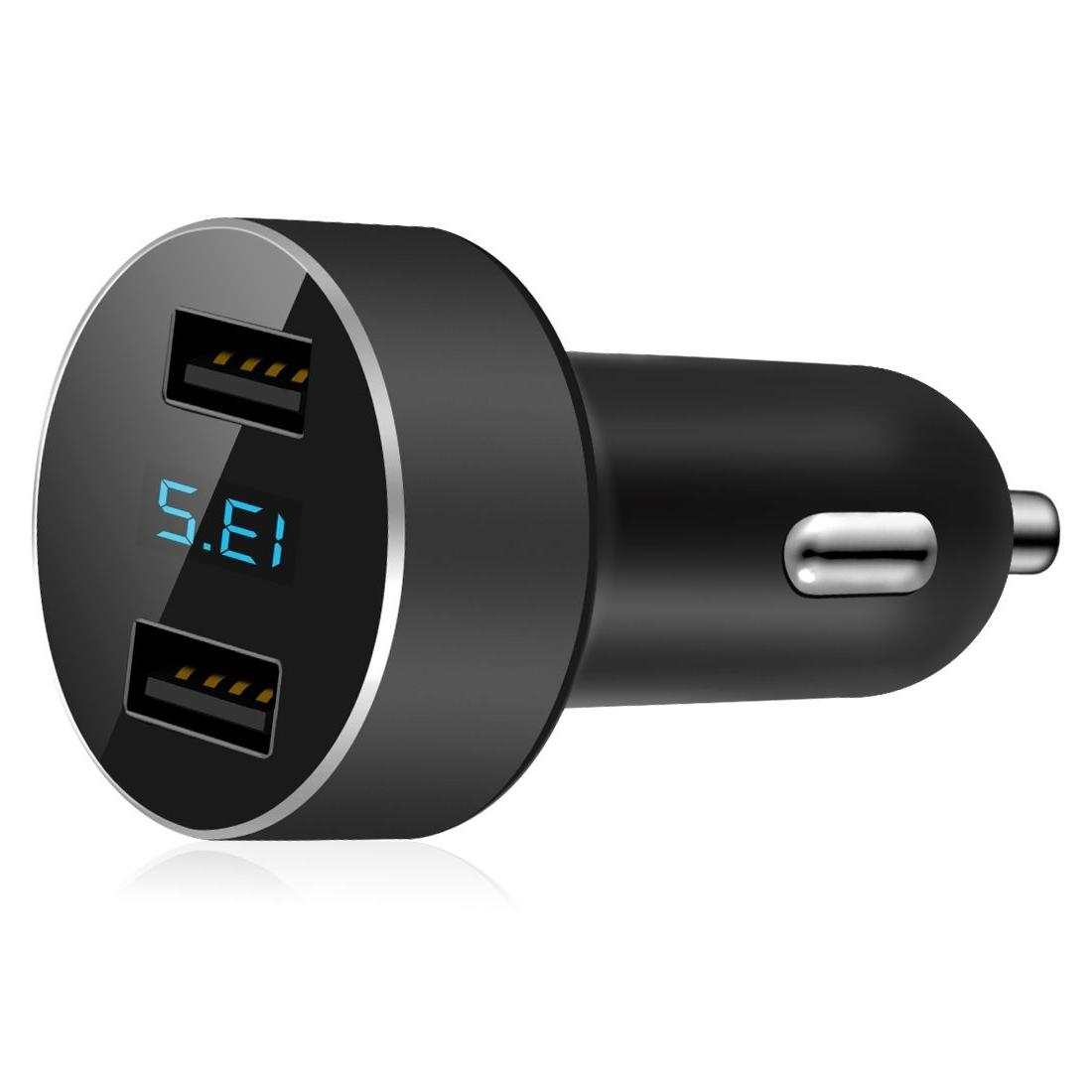 Dual USB Car Charger Adapter LED Display Fast Charging for i