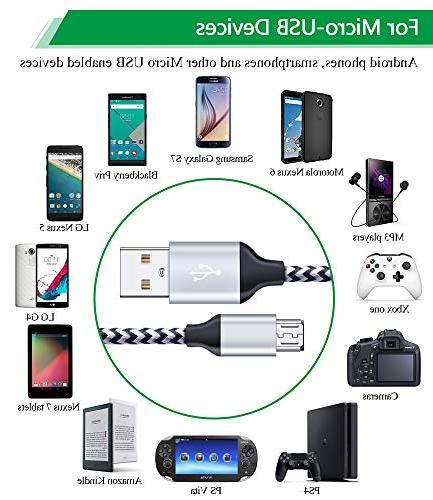Dual USB Charging Box and 6Ft Android Cord Micro USB Charging Phone Charging Adapter Plug Compatible Samsung J7 S7 S6 Edge
