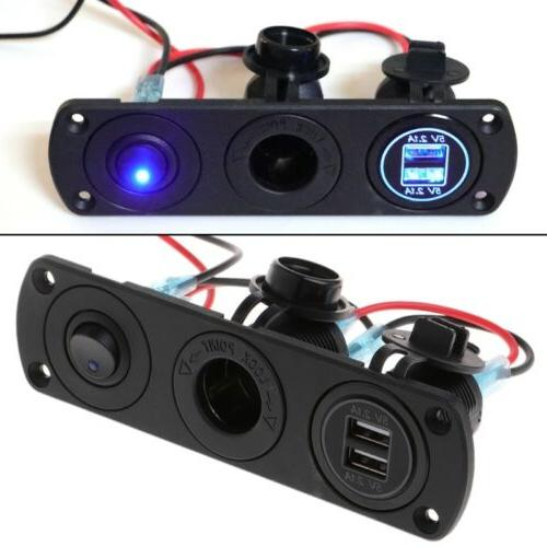 Dual USB Charger 2.1A 12V Power Outlet+ON-OFF Switch Panel f
