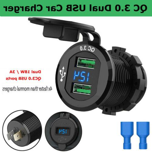 Dual USB QC 3.0 Fast Car Charger Socket Power Outlet For Boa