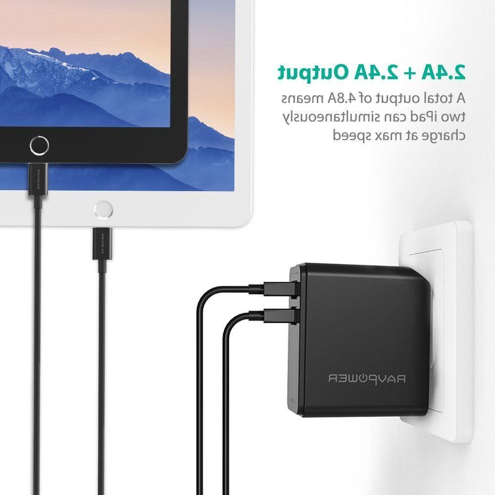 dual usb wall charger 24w 4 8a