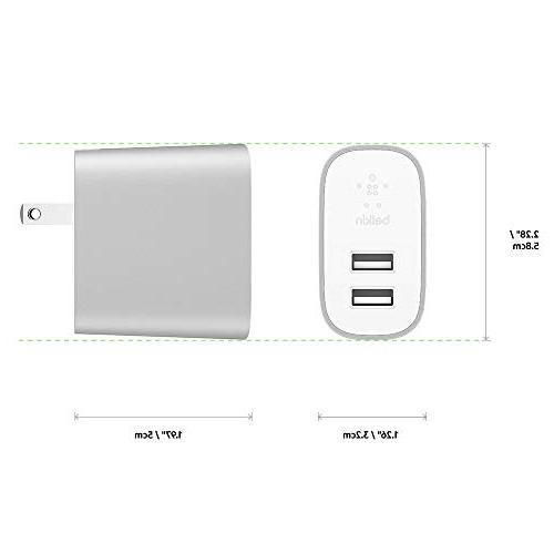 Belkin Boost to USB Cable 24W Multi-Port Charger, Silver