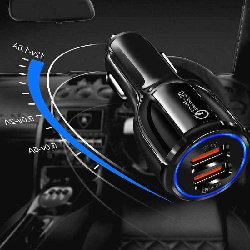 Fast Car QC3.0 Certified Quick 2-USB Port Charge Dual Black