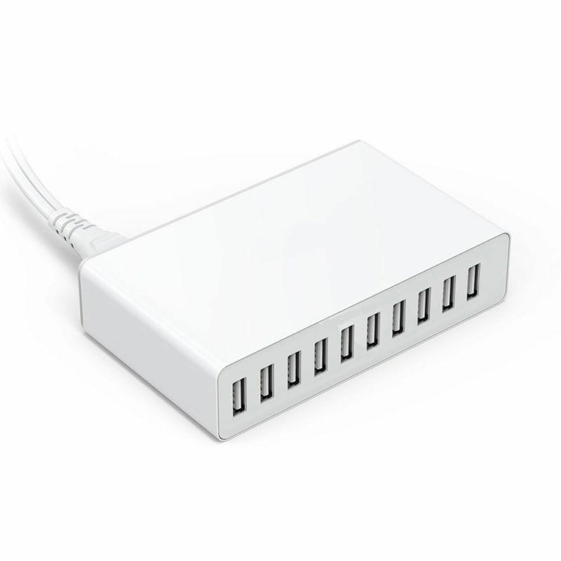 Fast Charging Desktop Station 10 Port USB HUB Travel Home Wall 10A