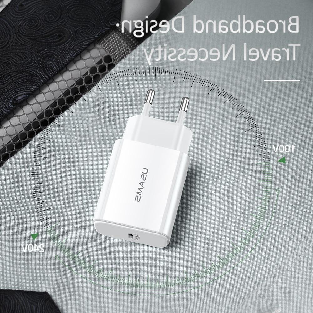 USAMS <font><b>USB</b></font> 18W PD Fast Charge Type C PD for iPhone X XR <font><b>Portable</b></font> for Huawei Samsung