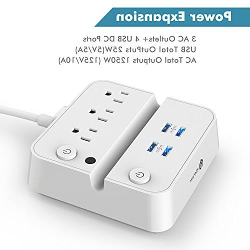 iClever BoostStrip IC-BS02 Smart Power USB USB + OutLets, Control Charging and Phone White