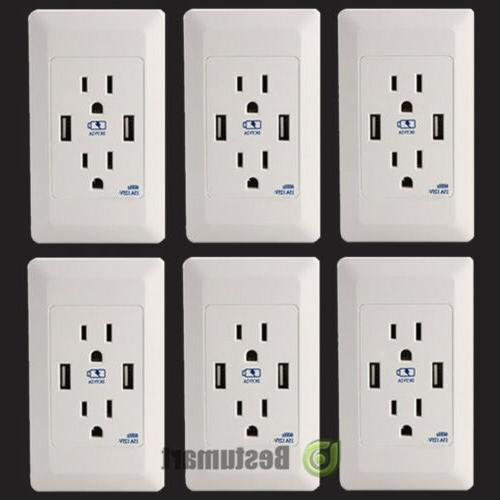 LOT Dual USB Port Wall Socket Charger AC Power Receptacle Ou