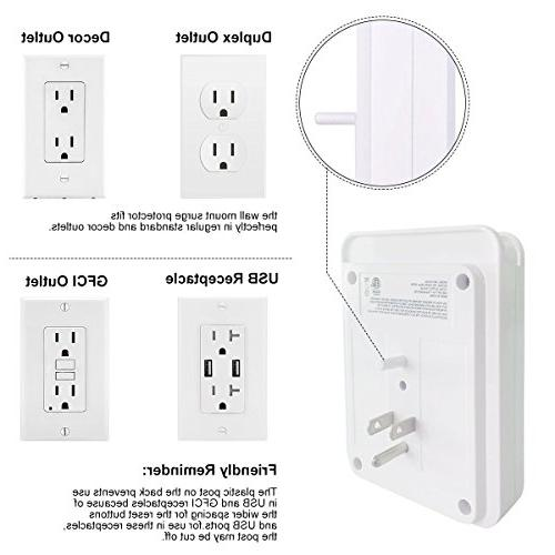 POWRUI Wall Joules Wall Charger, Mount Wall Mount Adapter for Home, Office, Certified