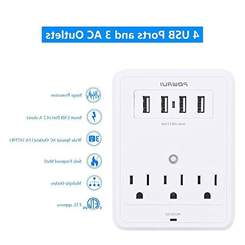 POWRUI Multi Wall Outlet Adapter Protector Joules Wall Charging Center 3 Outlet Wall for Home, School, Office,