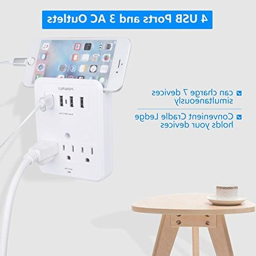 POWRUI Adapter Joules with Ports Wall Charging Center Wall Mount Adapter Certified