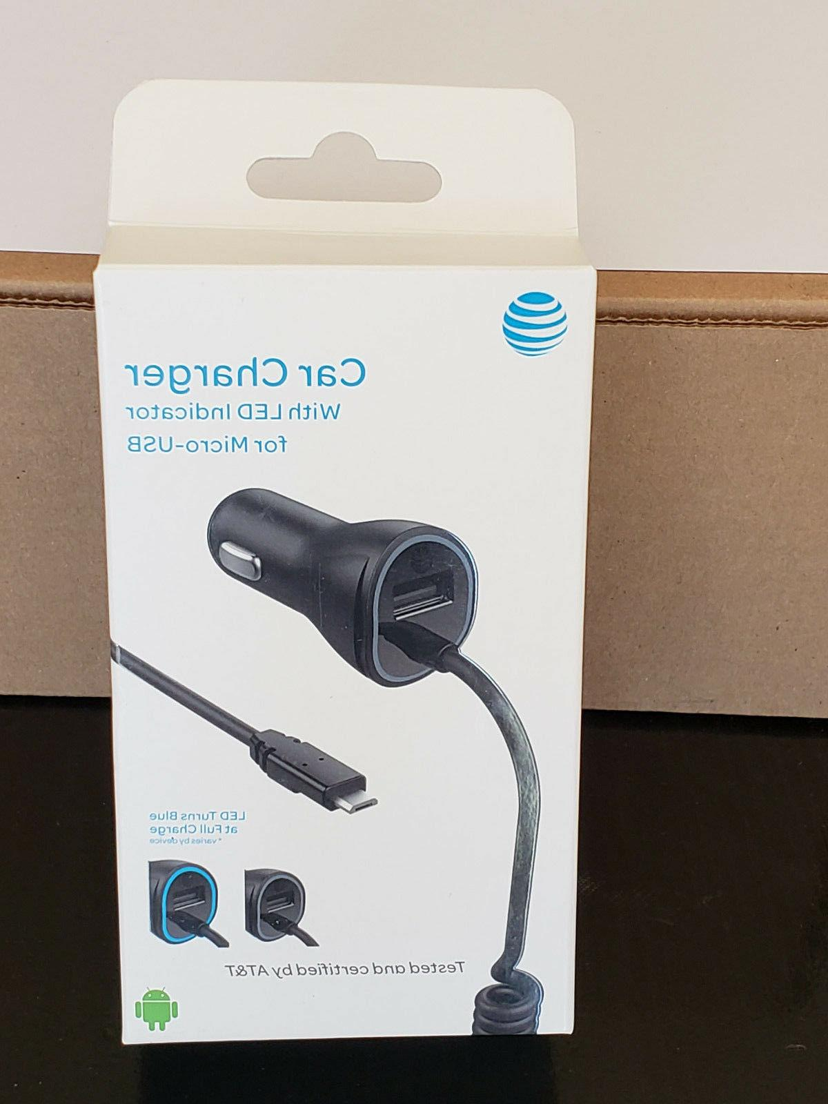 New OEM AT&T Certified 3.4Amp Micro USB Car Charger S6/S7/No