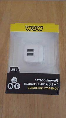 New WOW Power Booster 1+1.0 A Wall Charger Compact USB Charg