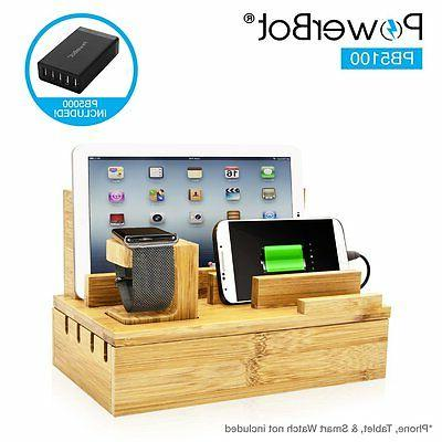 PowerBot PB5100 Bamboo Multi-Charging Station w/ Black 5 USB