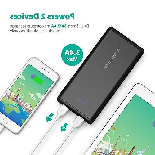 Portable RAVPower 20000mAh USB Battery Ports, 3.4A 2A Input Power iPhone, iPad, Galaxy Android Devices