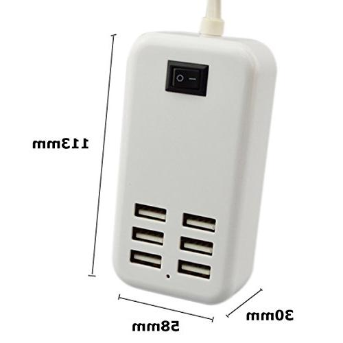 6 Ports USB AC Wall Charging Adapter with Cable