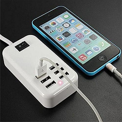 6 Ports Hub AC Power Charging Station Extension Outlet with Cable