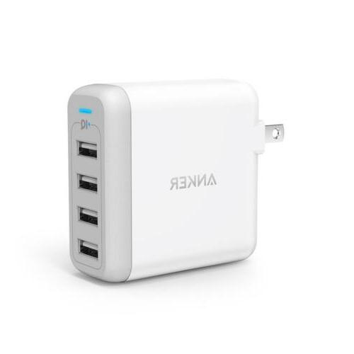 Anker PowerPort 4 USB Charger with Foldable Plug for iPhone