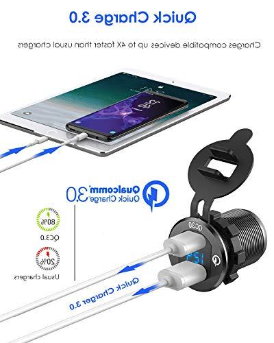 Quick Charge USB Charger Waterproof Fast Voltmeter DIY 12V/24V Car Boat Marine Motorcycle Truck Golf More