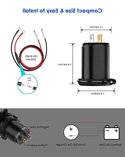 Quick Dual USB Waterproof Fast Charge with Voltmeter Wire DIY Kit 12V/24V Car Boat Motorcycle Truck Cart