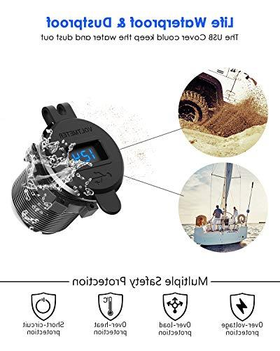 Quick 3.0 USB Waterproof Fast Charge Voltmeter & DIY for Car Marine Motorcycle Truck Golf Cart More