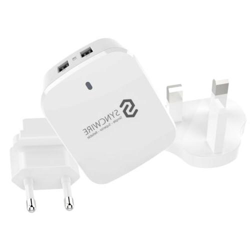 Travel Wall Charger 2-Port USB Plug with US UK EU Adapter fo